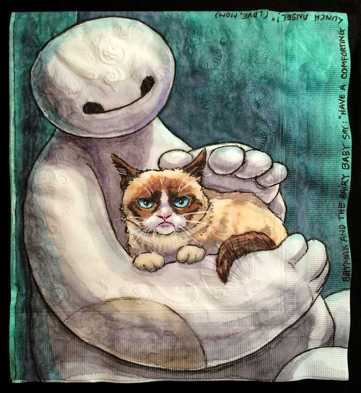 Cats-and-Robot-Drawn-on-Kids-Lunchbox-Napkins-__880