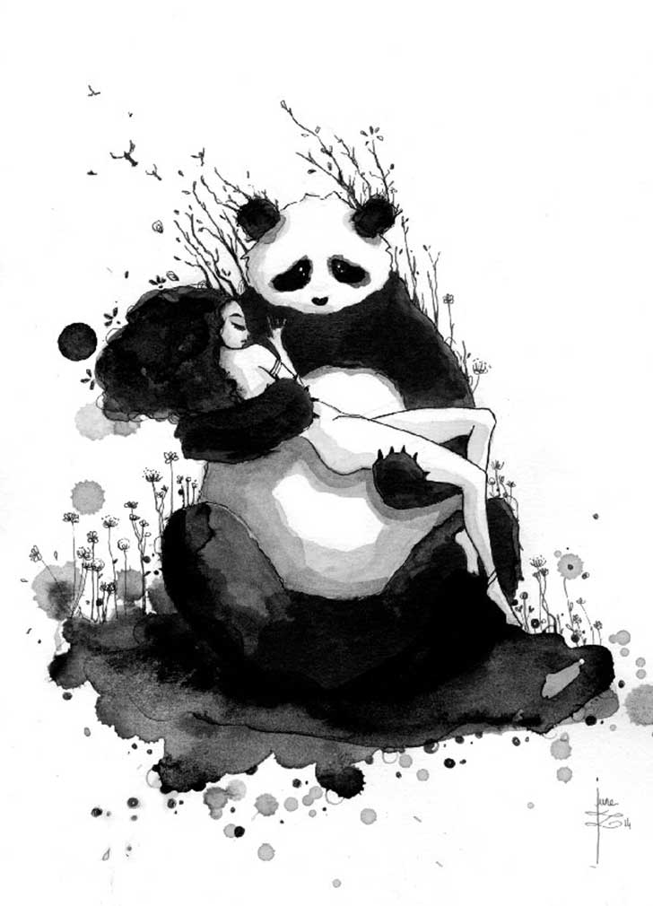 Pandamonium-Panda-and-Maiden-ink-drawings-by-June-Leeloo8__605