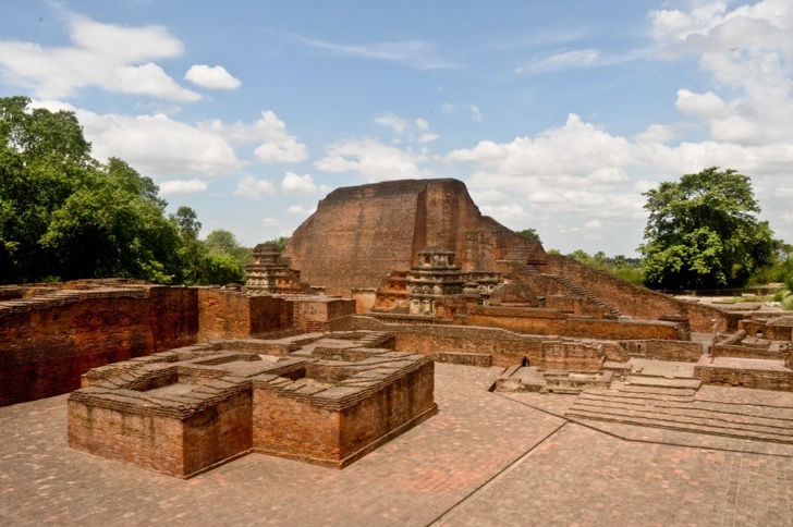 Excavated Remains of Nalanda Mahavihara: View of Site no. 03 and structure to north of Site no. 1B from East